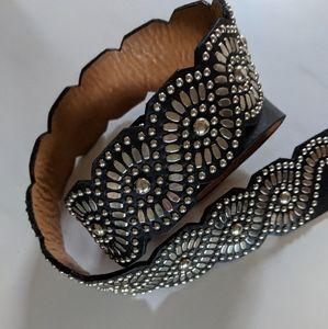 Calleen Cordero Black Leather Embellished Belt